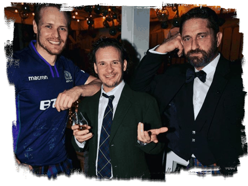 photo of Sam Heughan, Daniel Bee and Gerard Butler