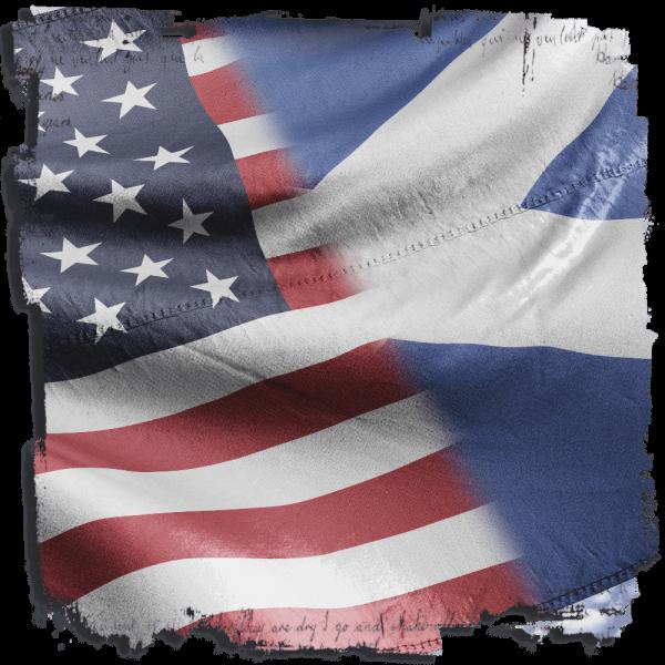 image of United States Flag and Scottish Saltire Flag Scottish Culture