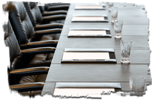 image of a board meeting table